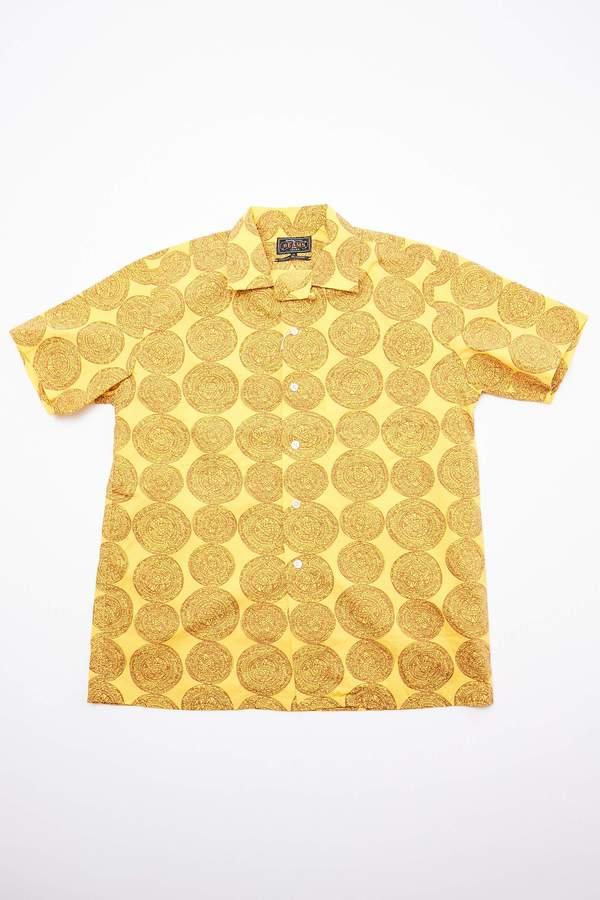 Beams Plus Short Sleeve Open Collar Dobby Print Shirt - Mustard