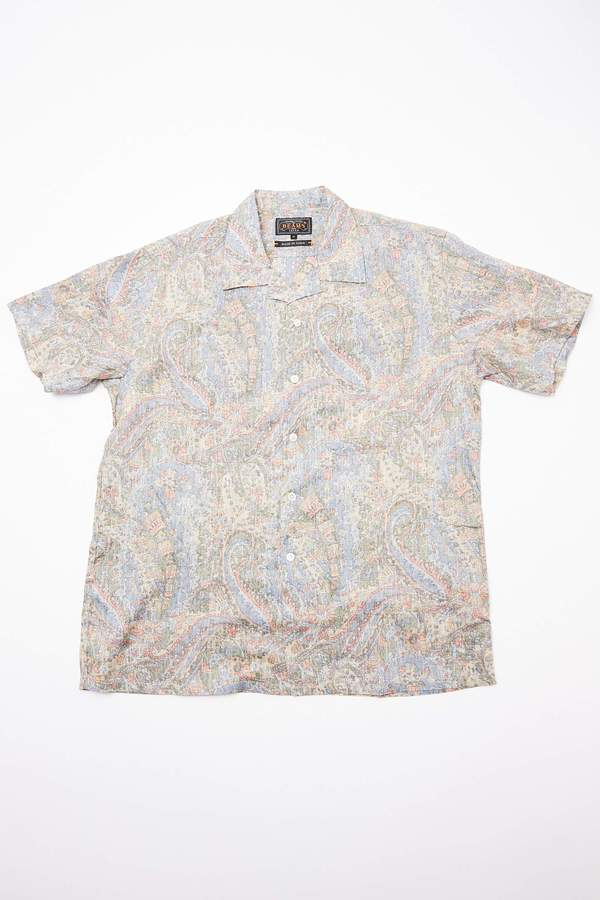Beams Plus Short Sleeve Open Collar Linen Paisley Shirt - Blue