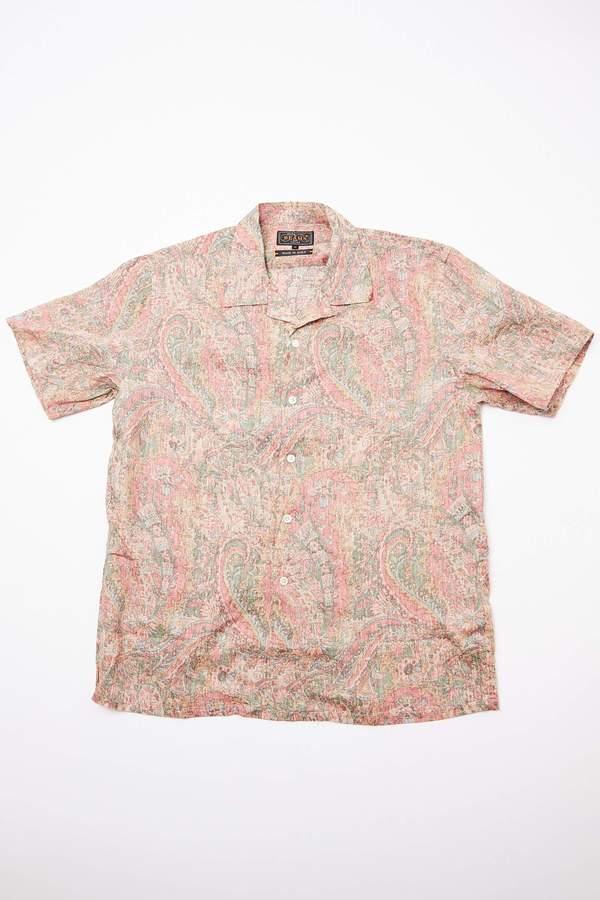 Beams Plus Short Sleeve Open Collar Linen Paisley Shirt - Red