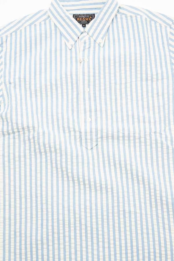 Beams Plus Short Sleeve Pullover B.D. Indigo Shirt - Stripe