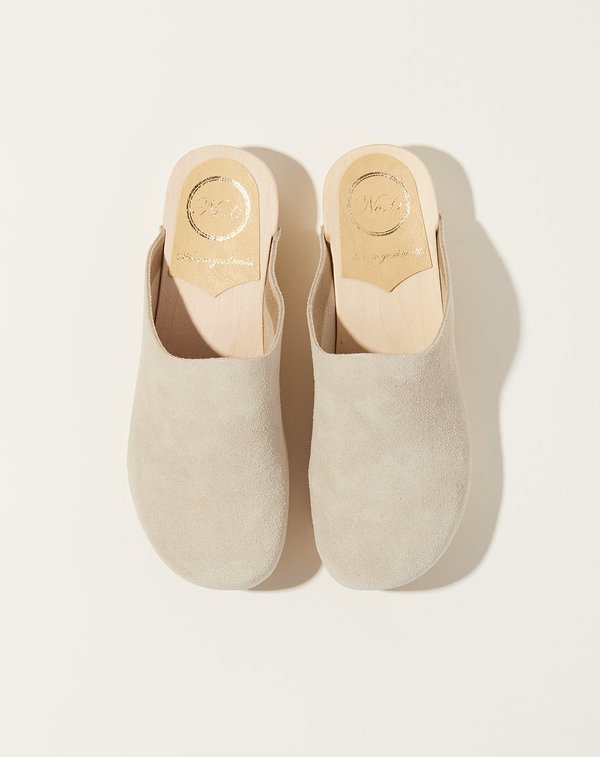No.6 Contour Flat Base Clog - Chalk Suede