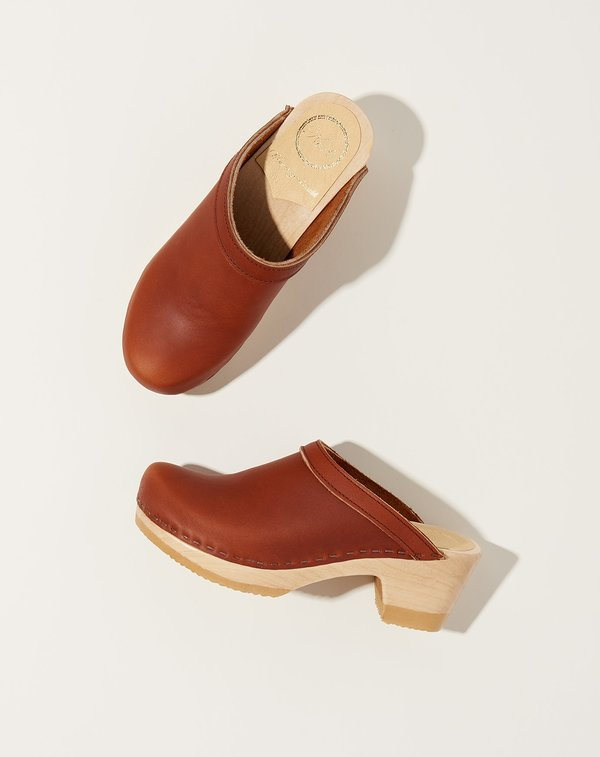 No.6 Mid Heel  Old School Clog - Bourbon
