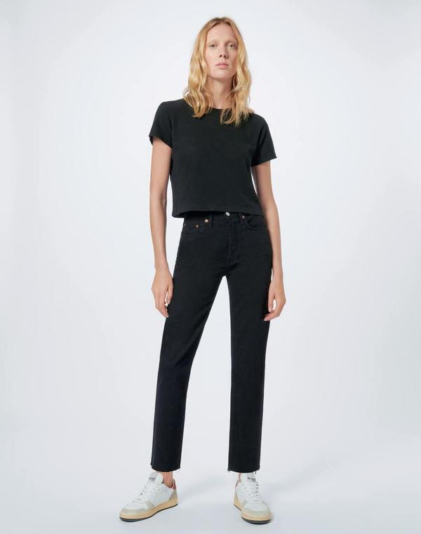 RE/DONE 70's Comfort Stretch High Rise Stove Pipe Jean - Jet Black