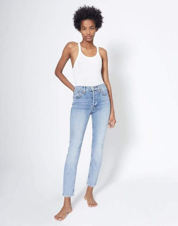 RE/DONE 90's  Comfort Stretch High Rise Ankle Crop Jean - Mid 90's