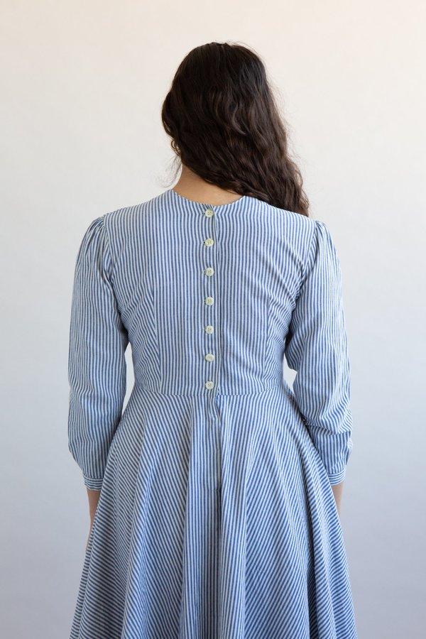 Vintage 1950s Stripe Dresss - Blue