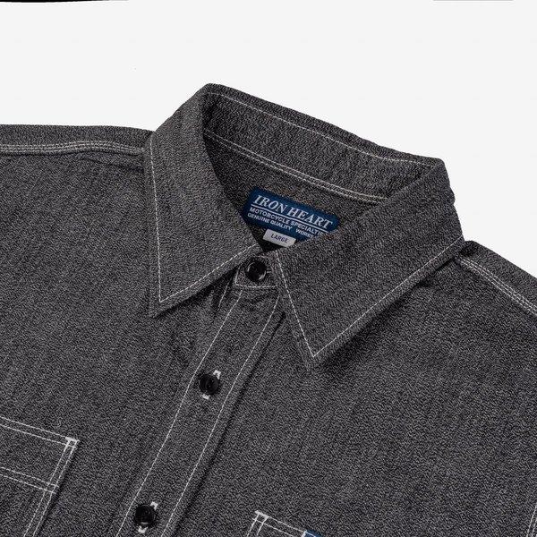 Iron Heart IHSH-290 Mock Twist Selvedge Chambray Work Shirt - Black