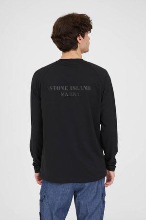 Stone Island Marina Seaqual Yarn Cotton Jersey L/S T Shirt - Black