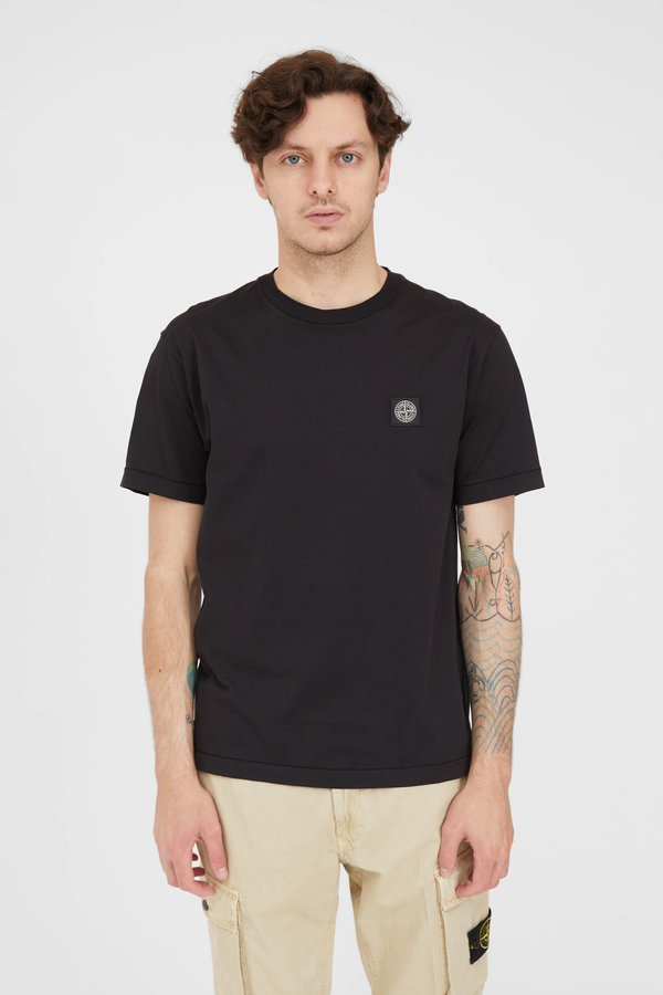 Stone Island Cotton Jersey Fissato T Shirt - Black