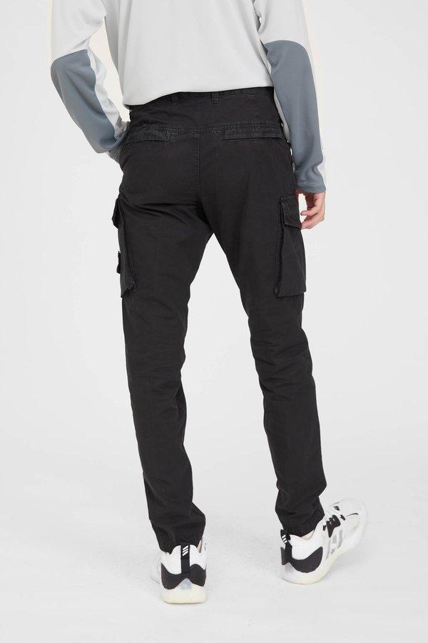 Stone Island Brushed Cotton Canvas Slim Cargo Pants - Black