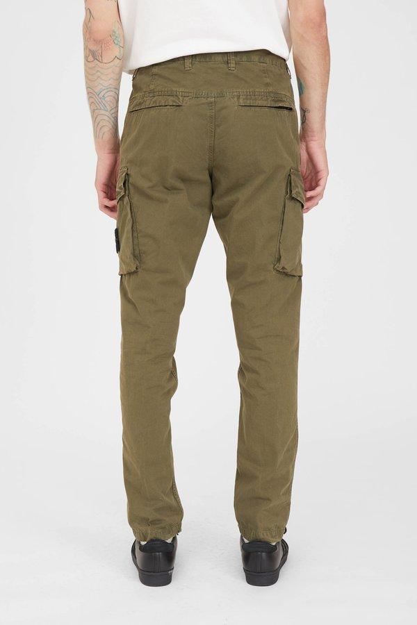 Stone Island Brushed Cotton Canvas Slim Cargo Pants - Olive