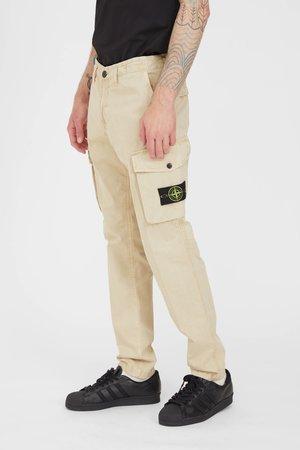 Stone Island Brushed Cotton Canvas Slim Cargo Pants - Sand
