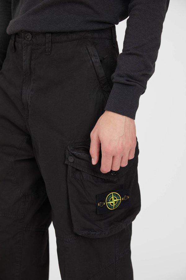 Stone Island  Brushed Cotton Canvas Loose Cargo Pants - Black