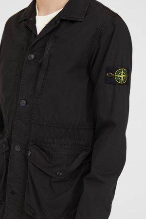 Stone Island Brushed Cotton Canvas Jacket - Black