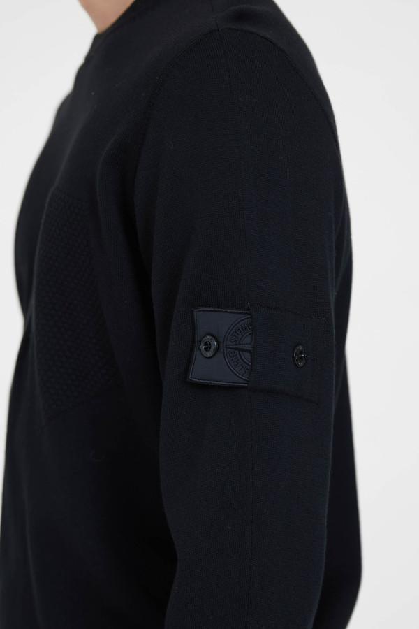 Stone Island Cotton Silk Gauge 14 Catch Pocket Crew Neck - Black