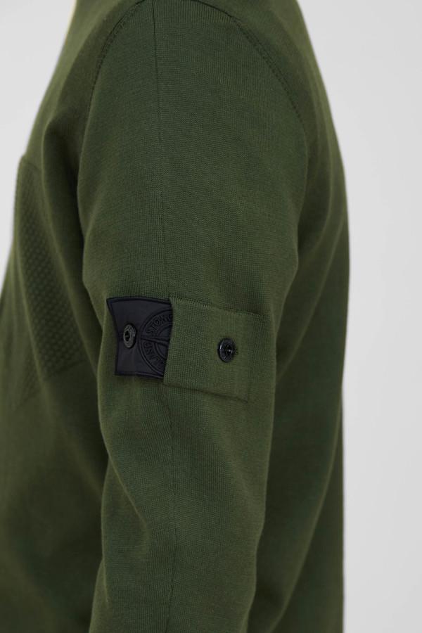 Stone Island Cotton Silk Gauge 14 Catch Pocket Crew Neck - Olive