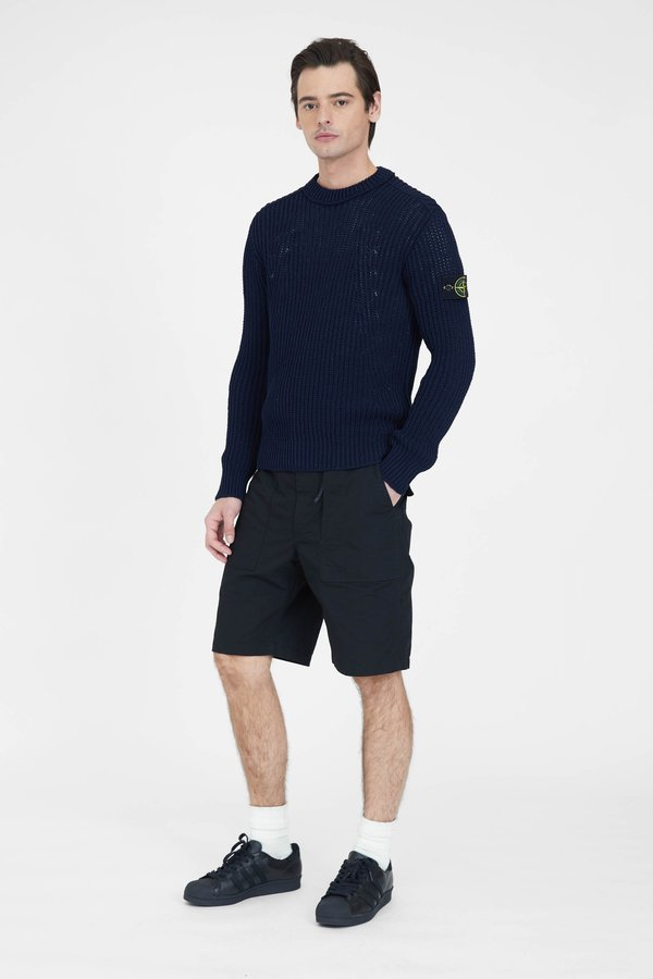 Stone Island Ribbed Mercerised Cotton Nylon Crew Neck Knit Sweater - Dark Blue