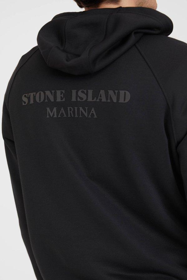 Stone Island Marina Seaqual Yarn Fleece Hooded Sweatshirt - Black