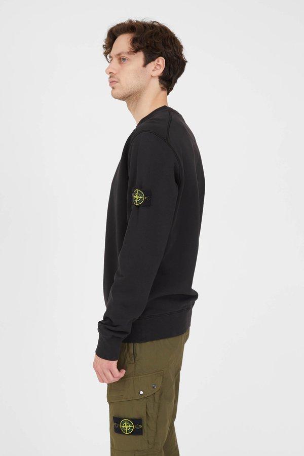 Stone Island Cotton Fleece Garment Dyed Crew Neck Sweatshirt - Black