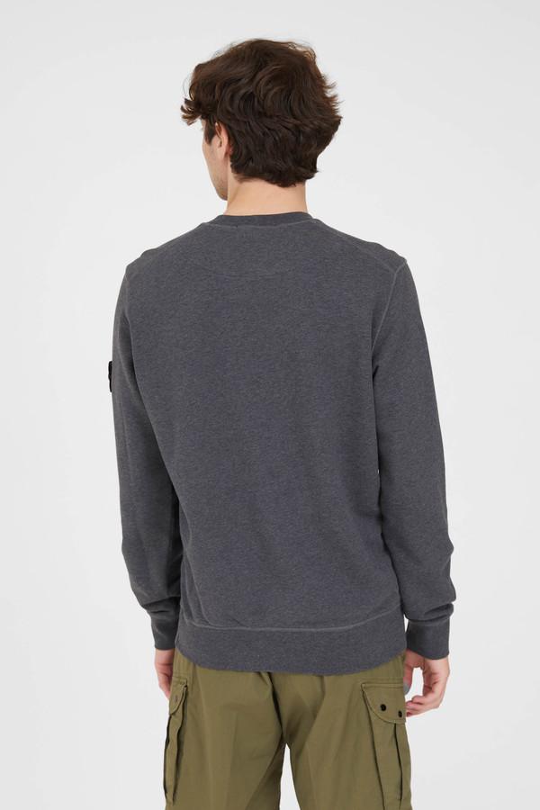Stone Island Cotton Fleece Garment Dyed Crew Neck Sweatshirt - Melange Dark Grey