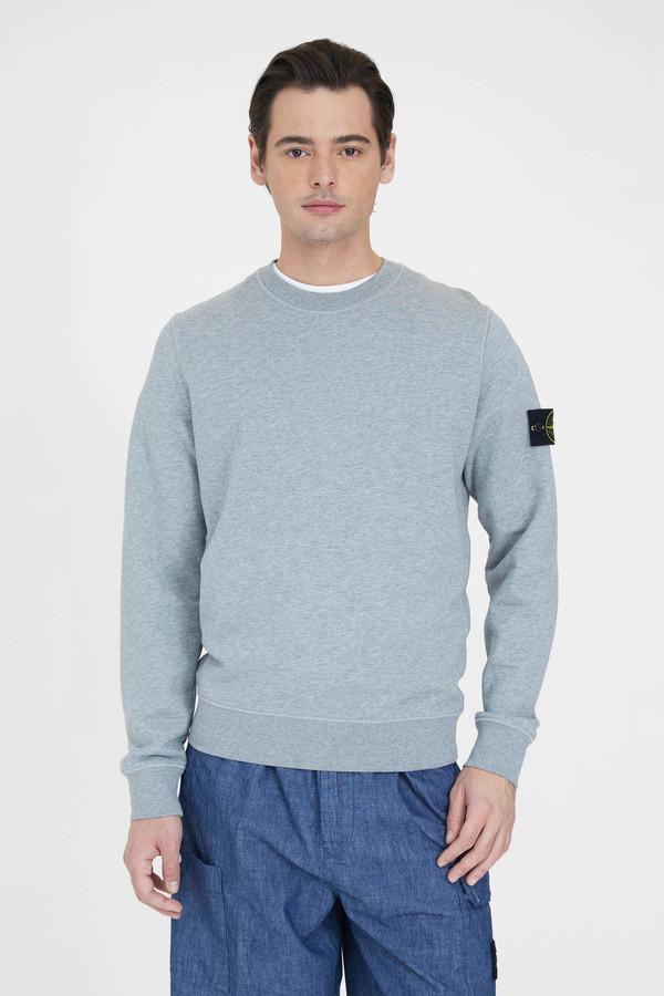 Stone Island Cotton Fleece Garment Dyed Crew Neck Sweatshirt - Melange Grey