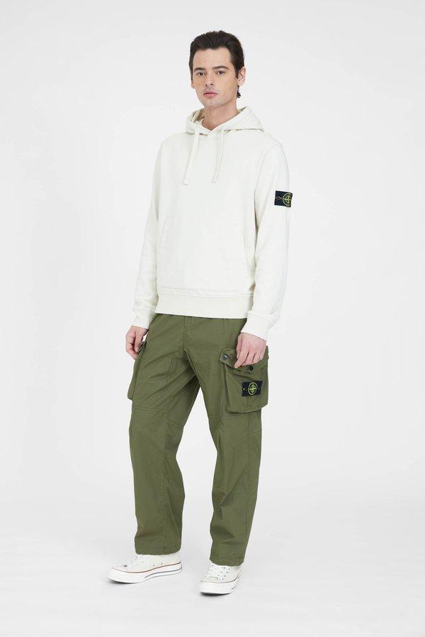 Stone Island Cotton Fleece Garment Dyed Hooded Sweatshirt - Ivory