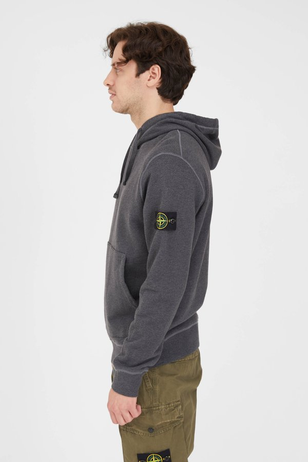Stone Island Cotton Fleece Garment Dyed Hooded Sweatshirt - Melange Dark Grey