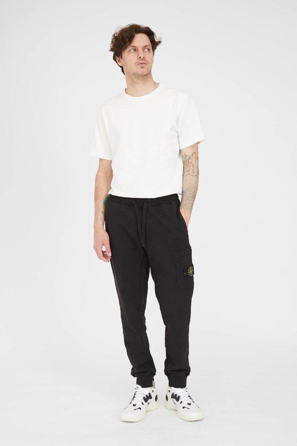 Stone Island Cotton Fleece Garment Dyed Cargo Sweat Pants - Black