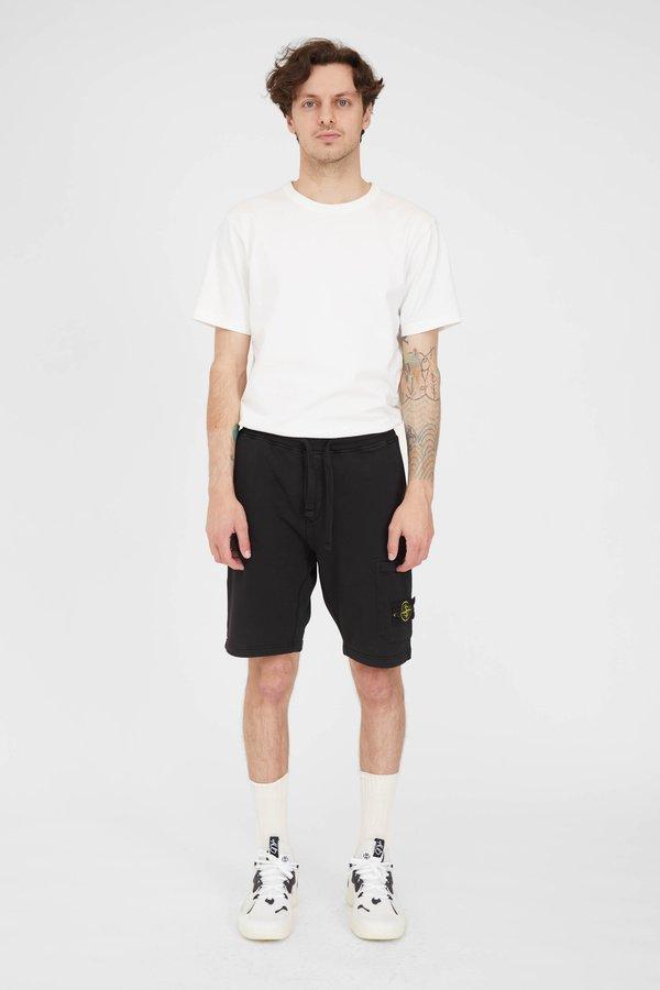 Stone Island Cotton Fleece Garment Dyed Bermuda Shorts - Black