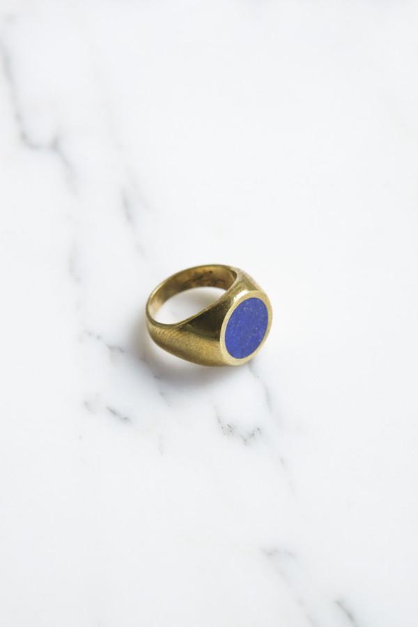 Legier Brass Round Signet Ring With Lapis Lazuli Garmentory