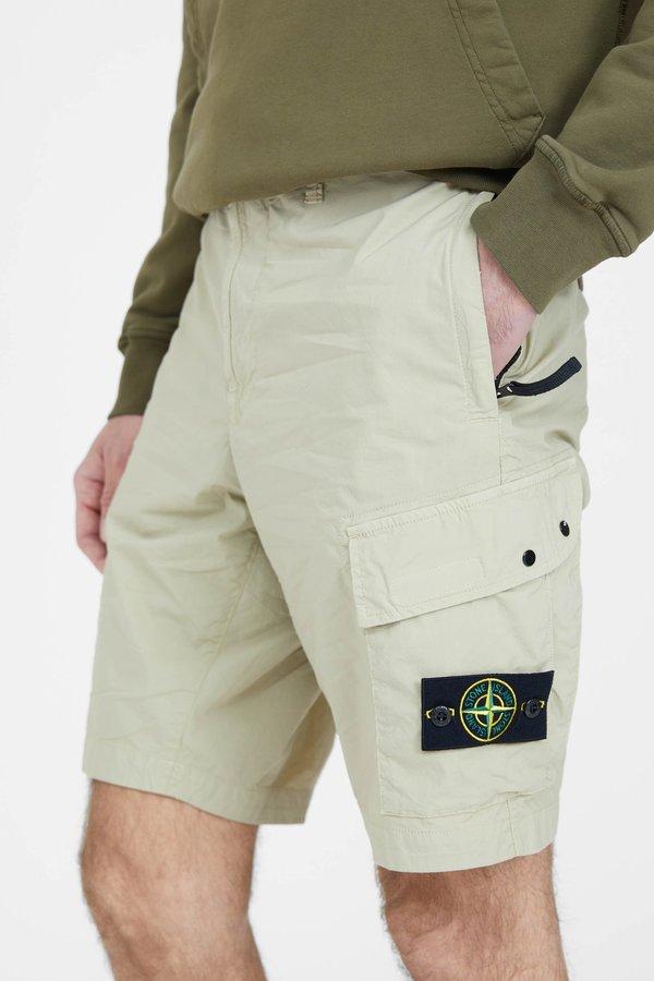 Stone Island Stretch Cotton Tea Paracadute Cargo Shorts - Sand