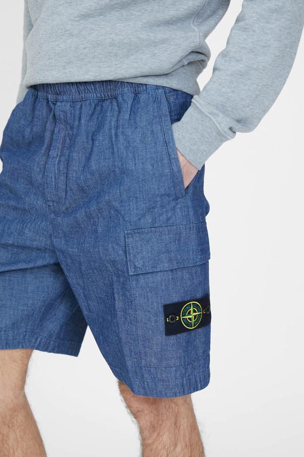 Stone Island Chambray Wash Shorts - Blue