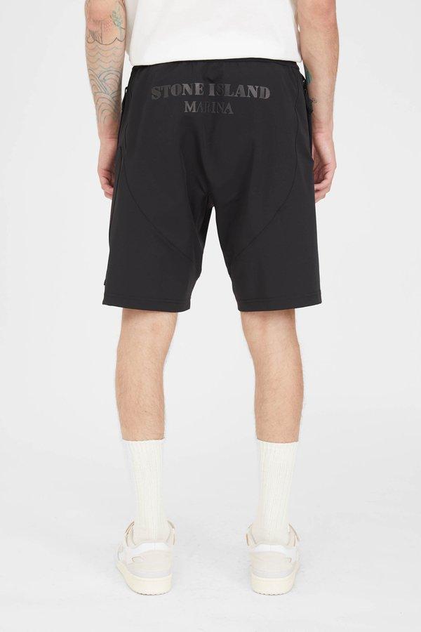 Stone Island Marina Two Way Stretch Recycled Nylon Twill Cargo Shorts - Black