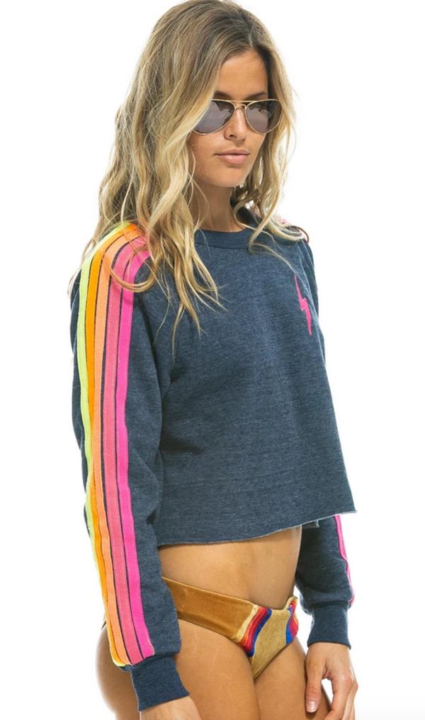 Aviator Nation Bolt Cropped Crew Sweatshirt - Navy Neon