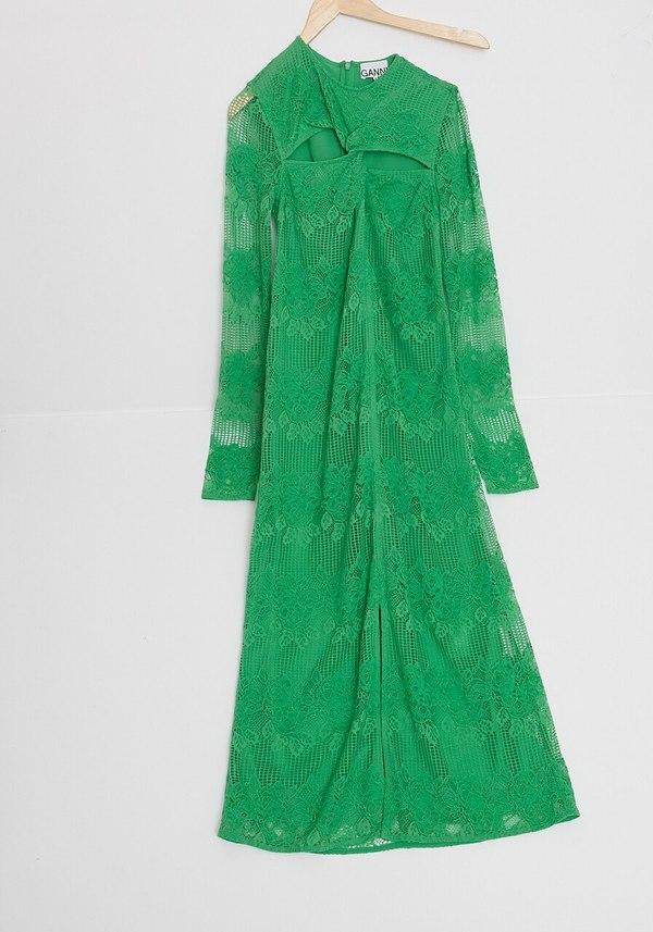 Ganni Lace Twist Dress - Kelly Green