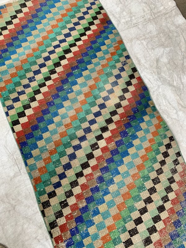 Vintage Diagonal Multi Colored Checkered Runner