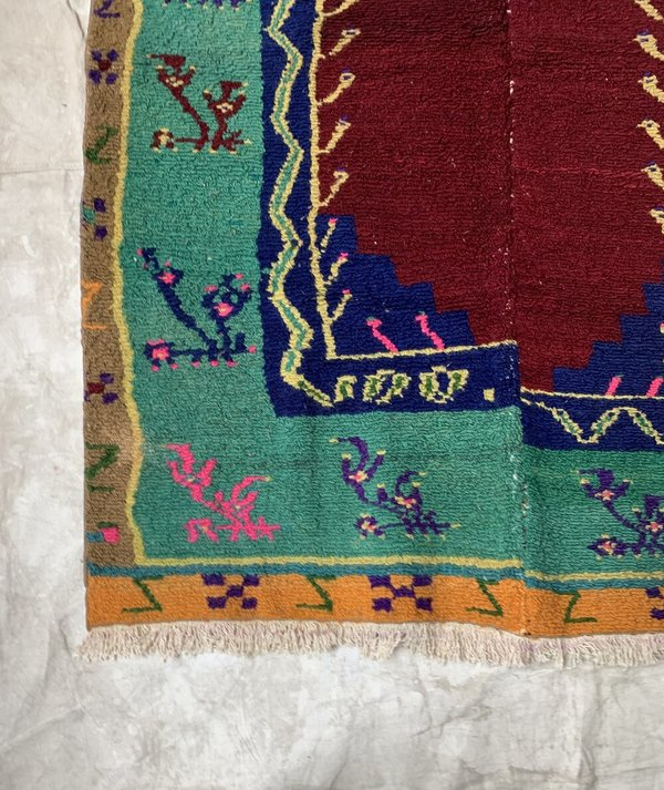 Reworked Vintage Hand knotted Rug