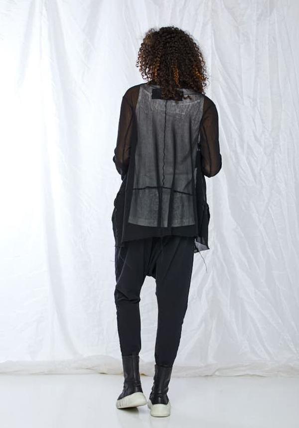 Rundholz Black Label Cotton Mesh Cocoon Hem Jacket - black