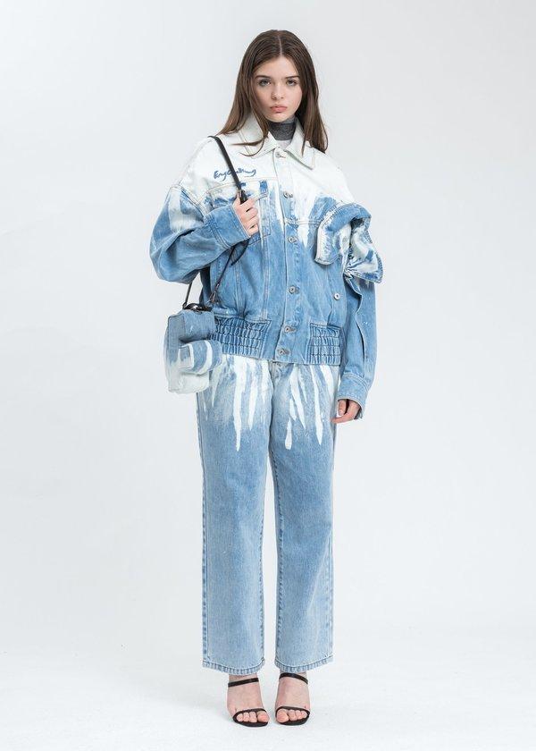 Feng Chen Wang Washed Denim F Bag - Blue