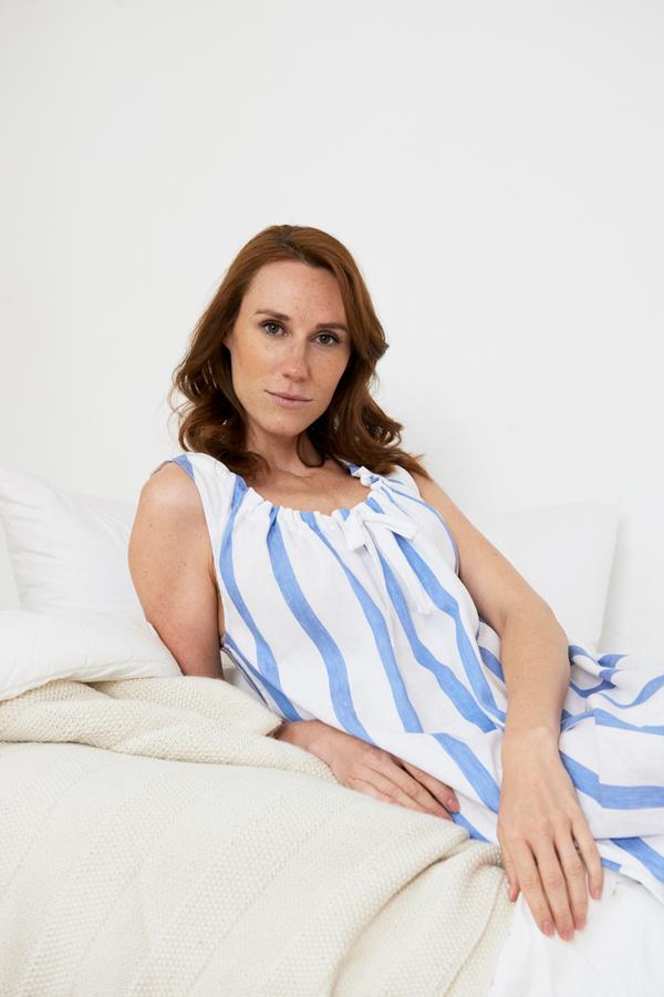 The Sleep Shirt Sleeveless Nightie - Giant Blue Stripe