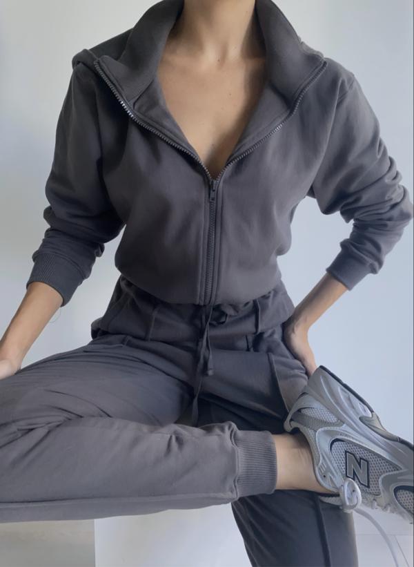 Parentezi Prima Cotton French Terry Jumpsuit - Pavement Grey