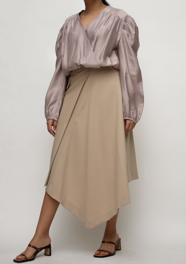 W A N T S Asymmetrical Length Midi Skirt - Beige