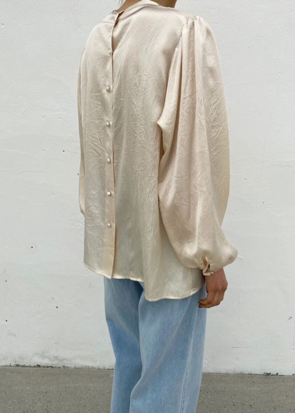 W A N T S Puff Sleeves Textured Silk Blouse - Champagne