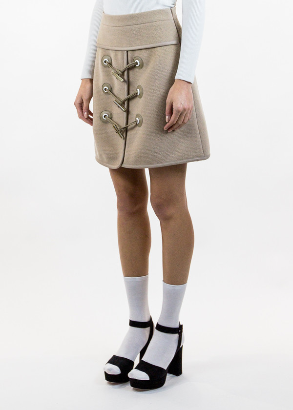 d65ce20492 Carven Camel Mini Felted Toggle Skirt | Garmentory