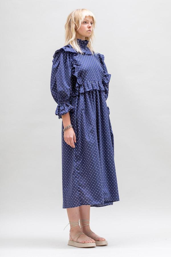 Toit Volant Ruffle Crazed Detachable Collar Dress - Navy/White