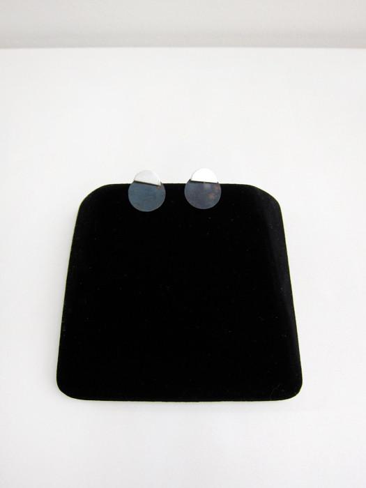 Kat Seale 2-Part Earrings Half Moon Circles in Steel/ Silver