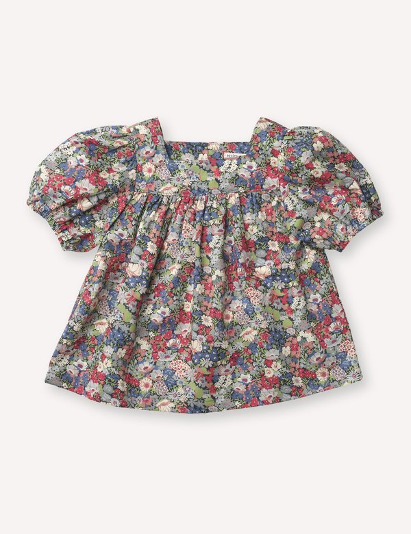 Kids Petits Vilains Anaïs Square Neck Blouse - Thorpe Red