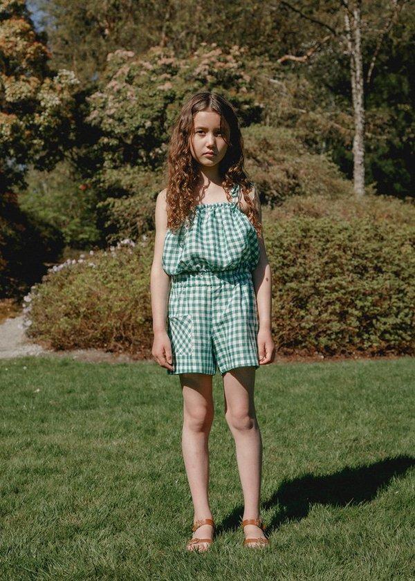 Kids Camille Flutter Short - Green Gingham