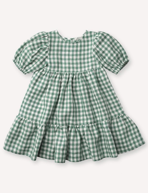 Kids Petits Vilains Clementine Puff Sleeve Dress - Green Gingham