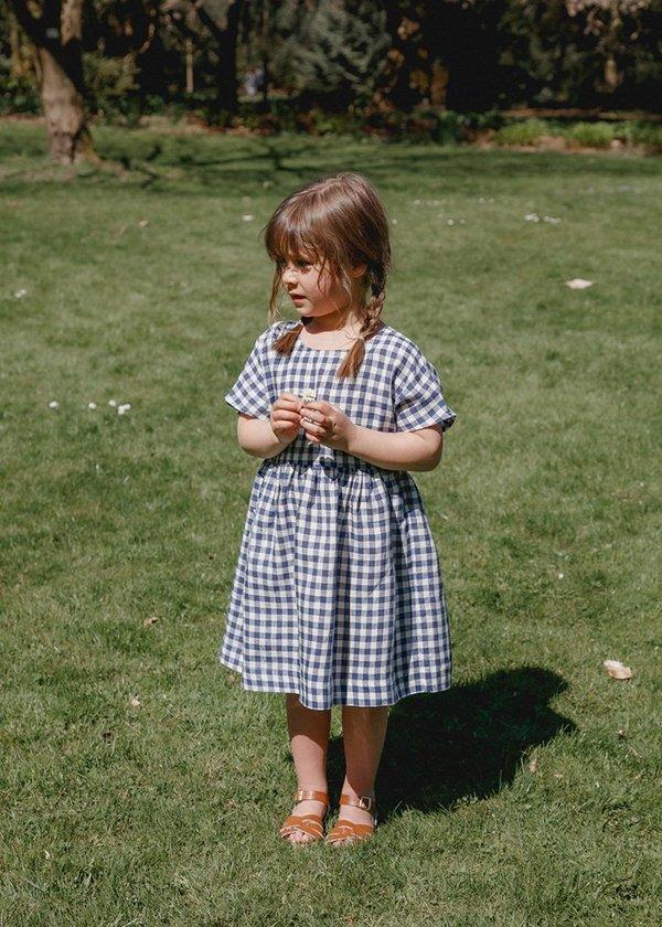 Kids Petits Vilains Marie Everyday Dress - Navy Gingham