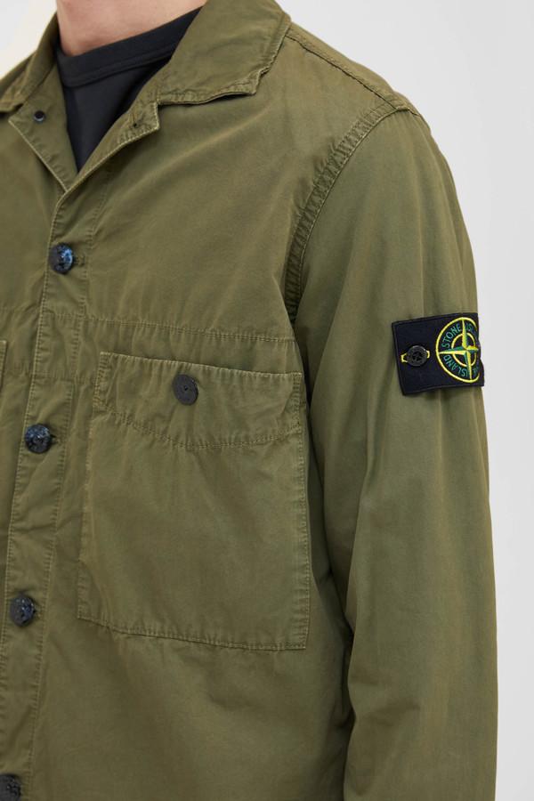 Stone Island Brushed Cotton Canvas 2 Pocket Overshirt - Olive